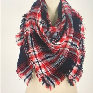 Red navy white plaid blanket scarf